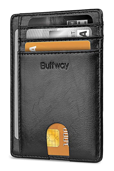 Buffway Front Pocket RFID Blocking Leather Wallet
