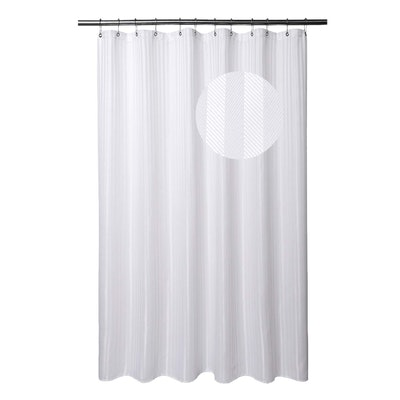 Barossa Design Shower Curtain, White Stripe Damask, 71 by 78 Inches