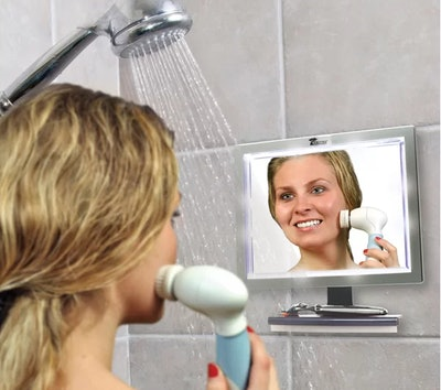 ToiletTree Products LED Fogless Shower Mirror with Squeegee