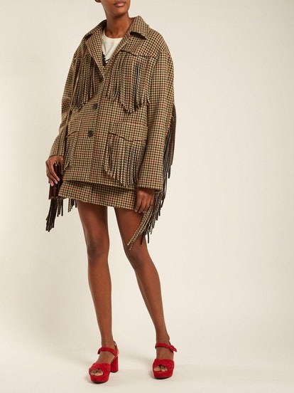Fringed Houndstooth-wool Jacket