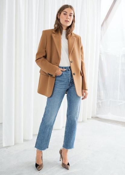 Wool Blend Oversized Blazer in Camel