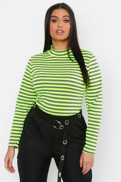 Plus Neon Stripe High Neck Top