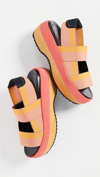 Marni Wedge Two Band Slingback Sandals