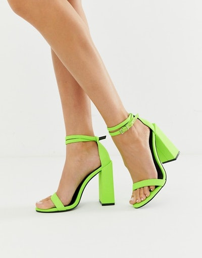 ASOS DESIGN Highlight Barely There Block Heeled Sandals In Neon Green