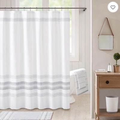Bee & Willow Home Midsomer Striped Shower Curtain in White/Charcoal
