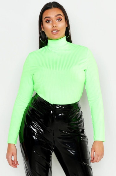 Plus Rib Roll Neck Top