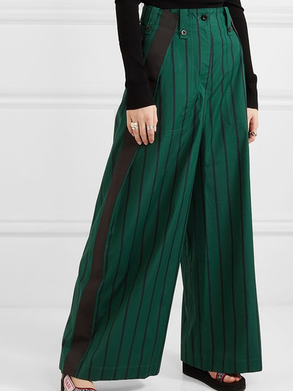 Grosgrain-Trimmed Striped Cotton-Poplin Wide-Leg Pants
