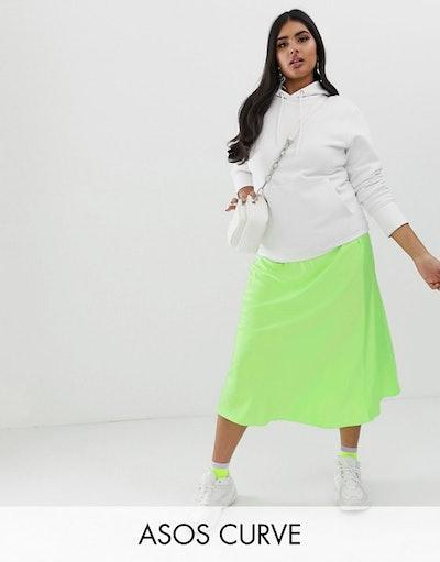 ASOS DESIGN Curve Bias Cut Satin Slip Midi Skirt In Neon