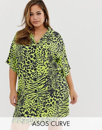 ASOS DESIGN Curve Chuck On Mini Shirt Dress In Neon Snake