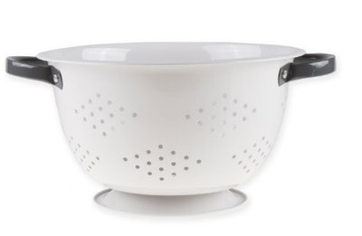Bee & Willow Home 5 qt. Metal Enameled Collander in White