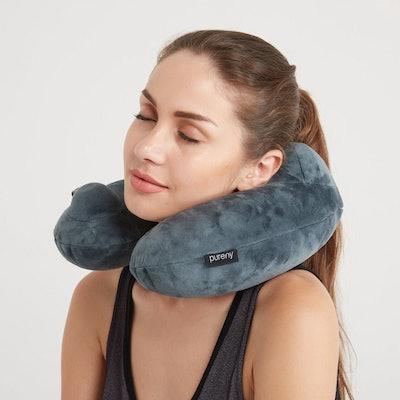 Purefly Soft Velvet Inflatable Travel Neck Pillow