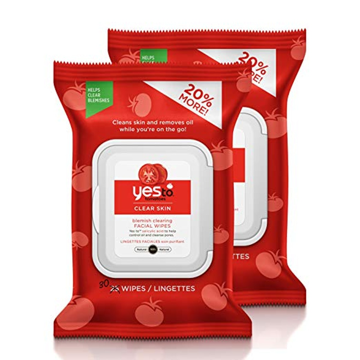Yes To Tomatoes Blemish Clearing Facial Wipes (2 Pack)