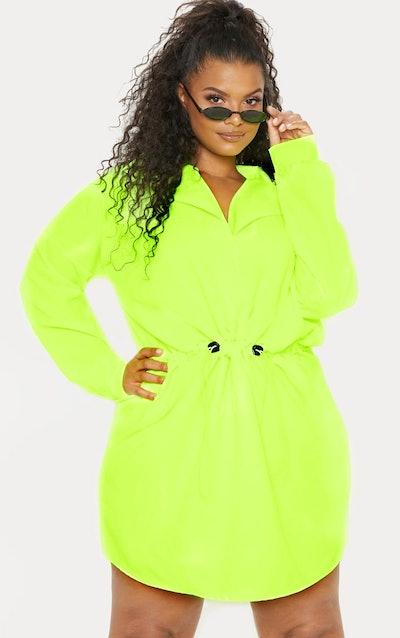 Plus Neon Lime Toggle Waist Shift Dress