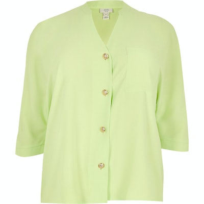 Plus Lime Green Long Sleeve Shirt