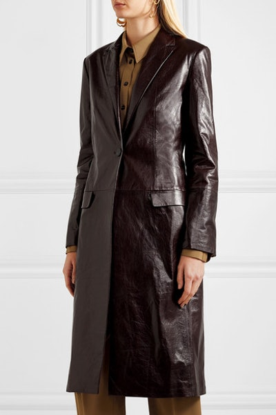 Textured-Leather Coat