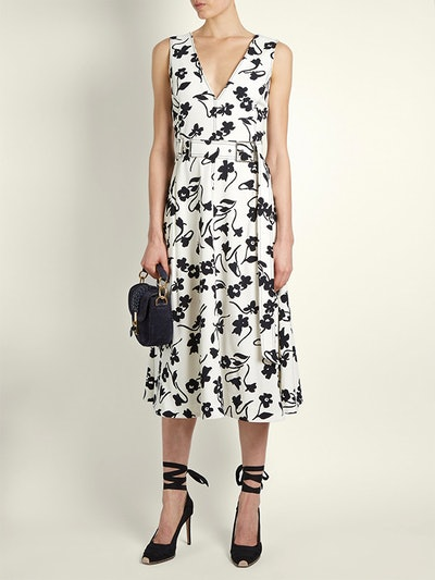 Helen V-neck floral-print Crepe-Cady Midi Dress