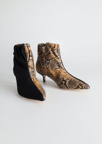 Gathered Kitten Heel Boots