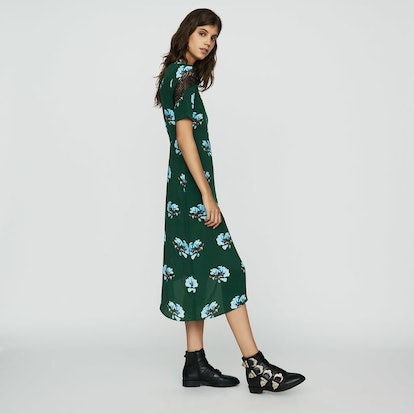 Asymmetric Printed Dress with Lace