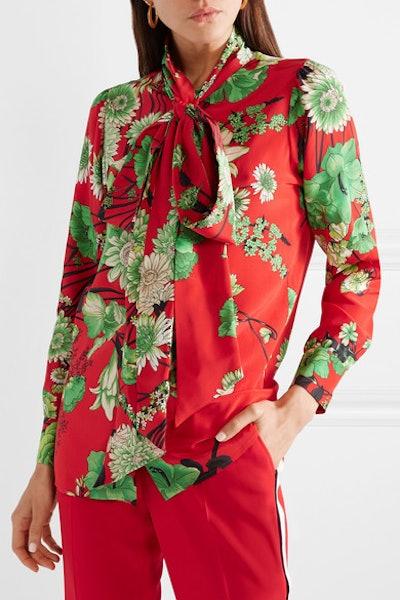 Spring Bouquet Print Tie Neck Silk Blouse