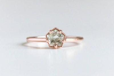 Vinny & Charles Green Amethyst Engagement Ring, 9k Rose Gold