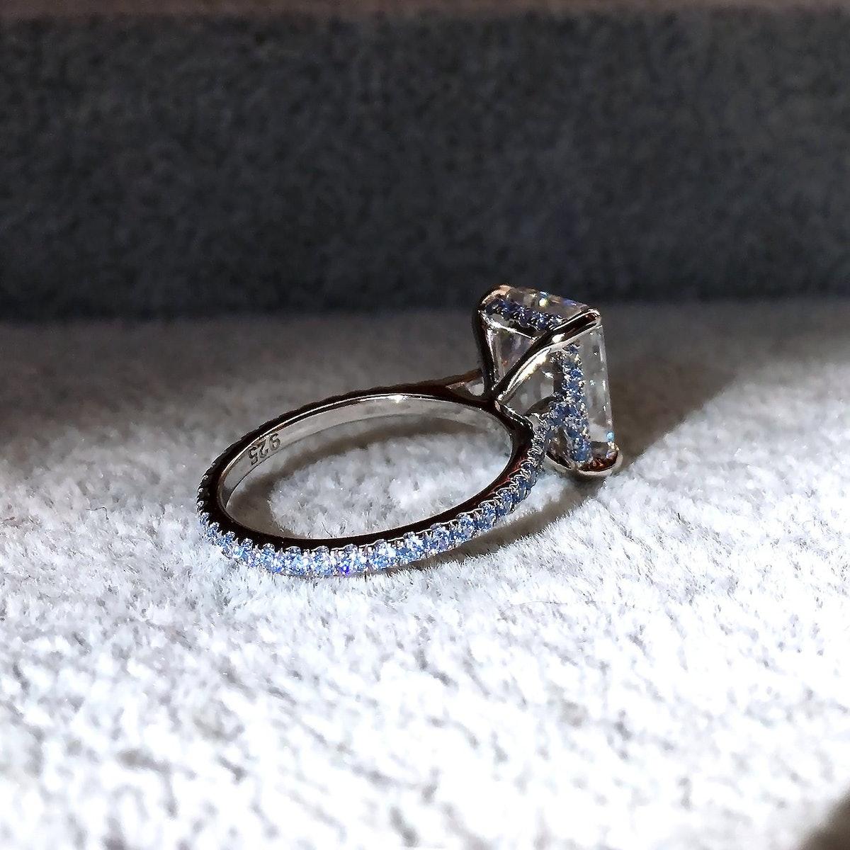 3 Ct Blue Diamond Simulant Engagement Ring 14k White Gold