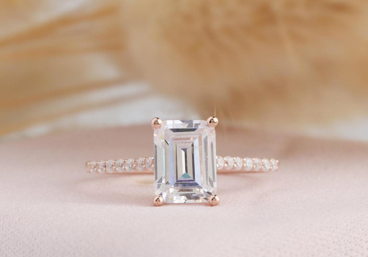 Moissanite Art Deco Ring