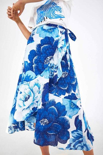 Azulejo Tile Midi Wrap Skirt