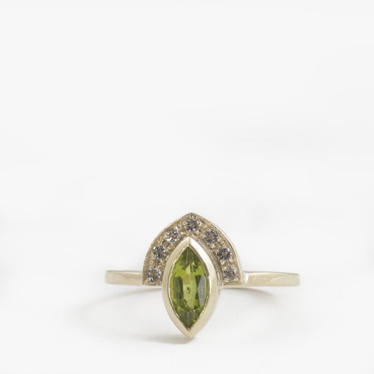 ARDONN Peridot Engagement Ring, 9k Yellow Gold + Diamonds