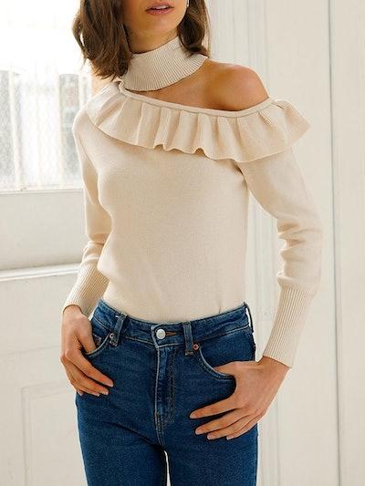 Delphine Ruffle Choker Sweater