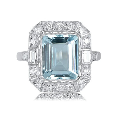 Estate Diamond Jewelry Aquamarine, Diamond Halo and Platinum Engagement Ring