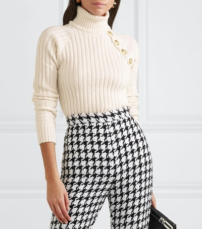 Button-Embellished Ribbed Cotton-Blend Turtleneck Sweater