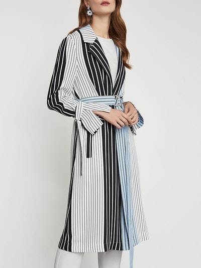 Striped Long Trench Coat