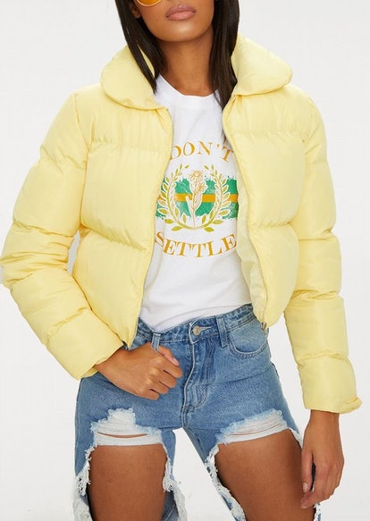 Lemon Cropped Puffer Jacket