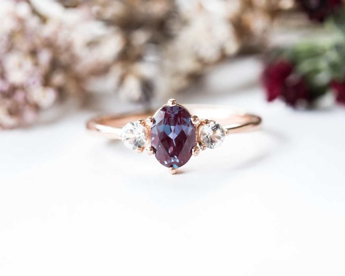 Oore Alexandrite Sapphire Three stone 14k Gold Engagement Ring