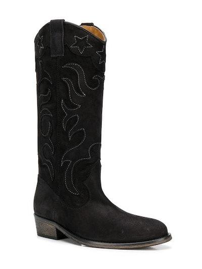 Contrast Stitch Cowboy Boots