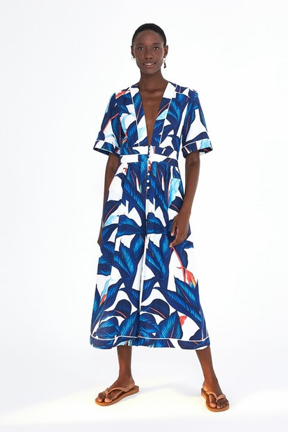 Blue Palm Tailored Jumpsuit