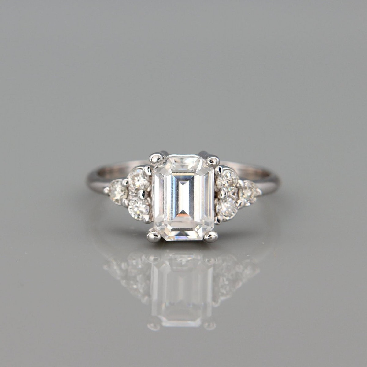 1ct White Gold Moissanite Engagement Ring