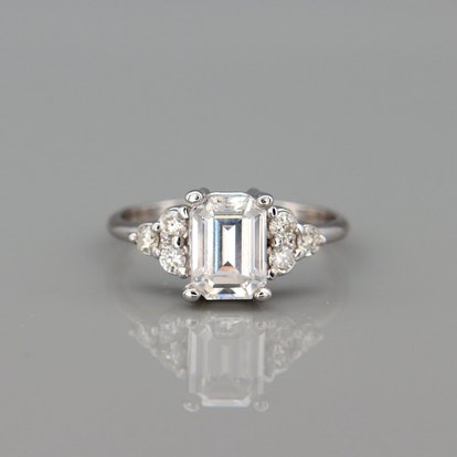 1ct White Gold Moissanite Engagement Ring