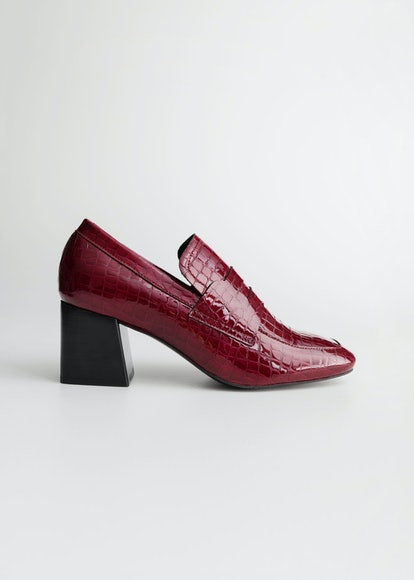 Patent Croc Heeled Loafers
