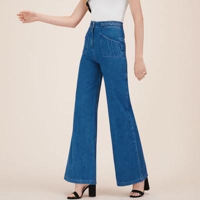 Wide-leg Jeans with Woven Detail