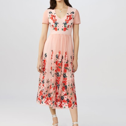 Maxi Dress in Embroidered Tulle