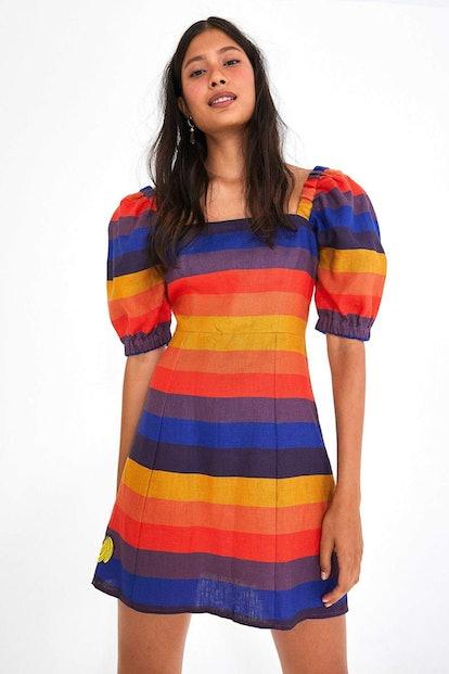 Rainbow Puffed Sleeve Dress