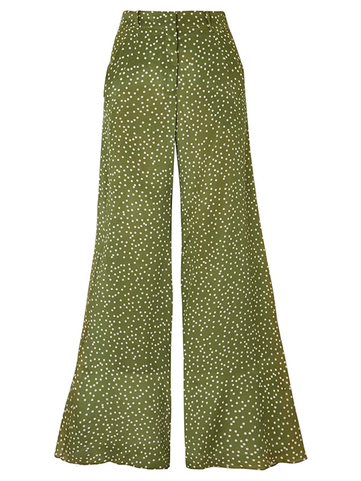 Millie Punti Polka-Dot Silk Crepe De Chine Wide-Leg Pants
