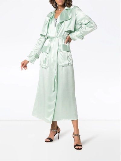 Belted Silk Trench