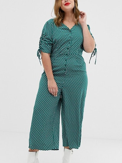 Curve Midi Tea Jumpsuit With Tie Sleeves In Polka Dot