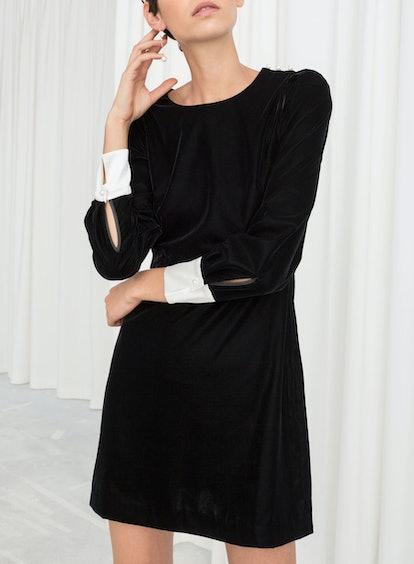 Velvet Pearl Button Mini Dress