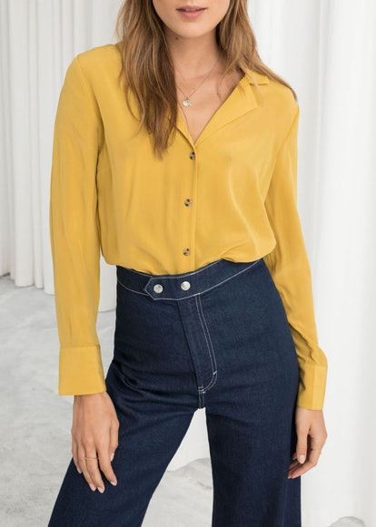 V-Cut Silk Button Up Blouse
