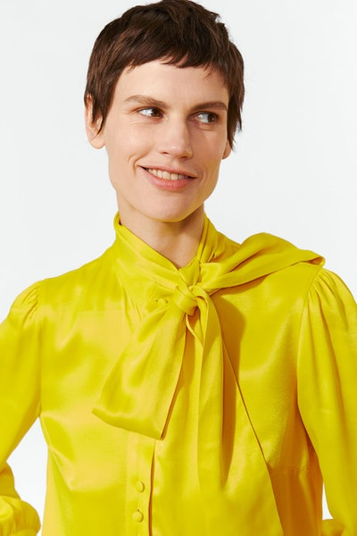 Zara Satin Blouse With Tie Bow Detail