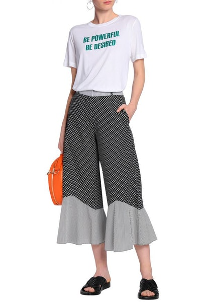 House of Holland Fluted Printed Cotton Poplin Culottes
