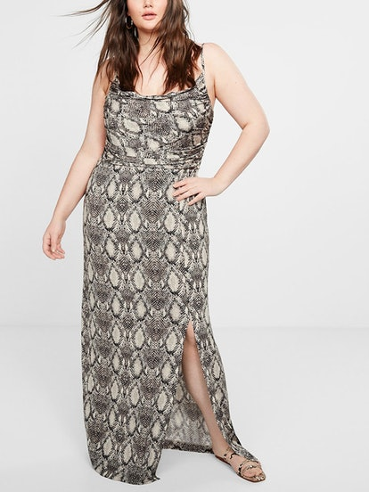 Snake Print Draped Dress